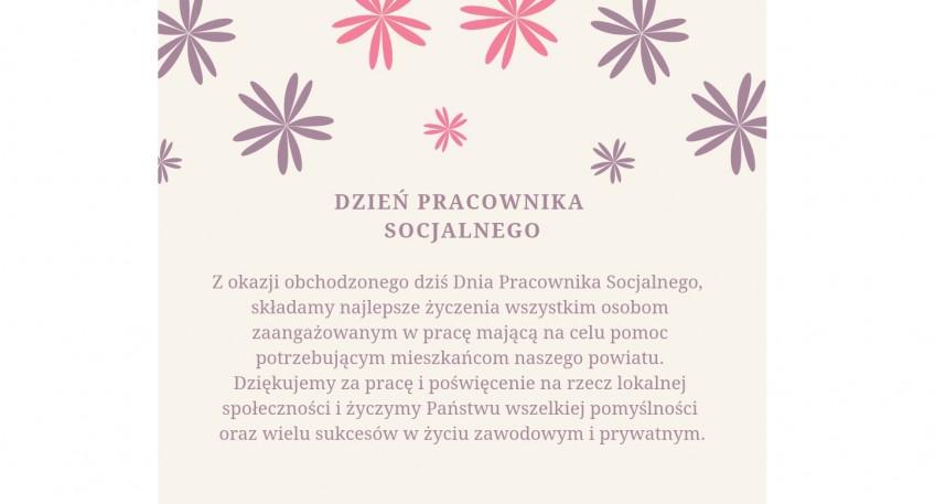 Życzenia z okazji Dnia Pracownika Socjalnego - element dekoracyjny