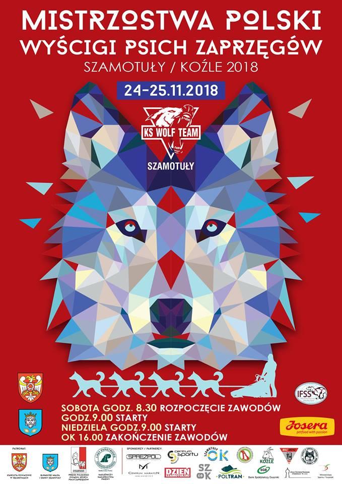 Plakat informujący o Mistrzostwach Polski w wyścigach psich zaprzęgów. Na czerwonym tle znajduje się wilk stworzony z różnokolorowych trójkątów. U góry oraz na dole znajdują się informacje nt. zawodów, a także loga sponsorów.
