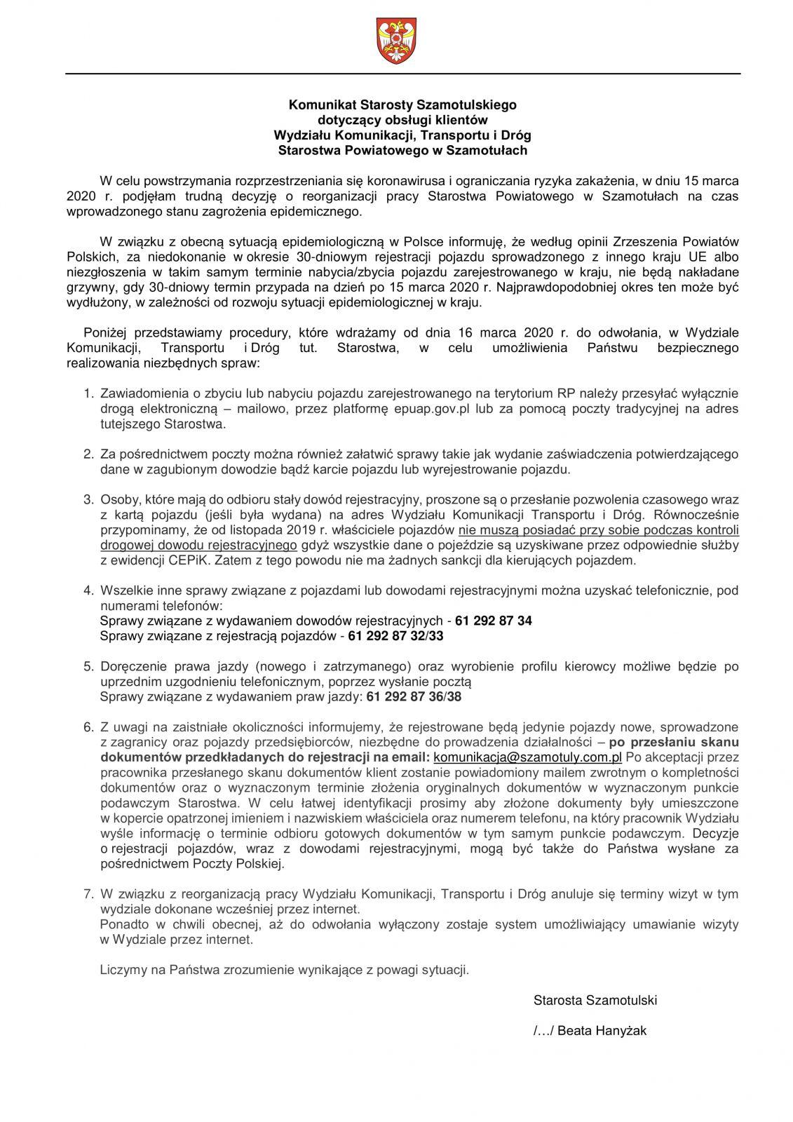 Komunikat Starosty Szamotulskiegoz dn.15.03.2020