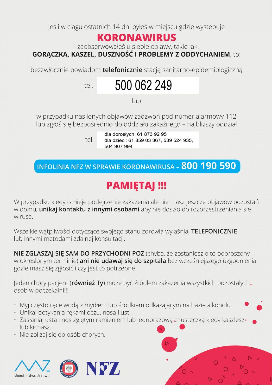 Koronawirus - plakat informacyjny