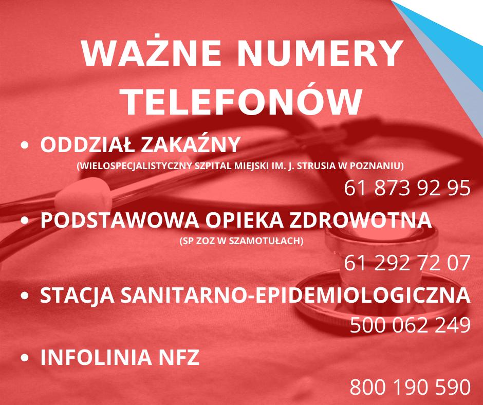 Ważne numery telefonów - koronawirus