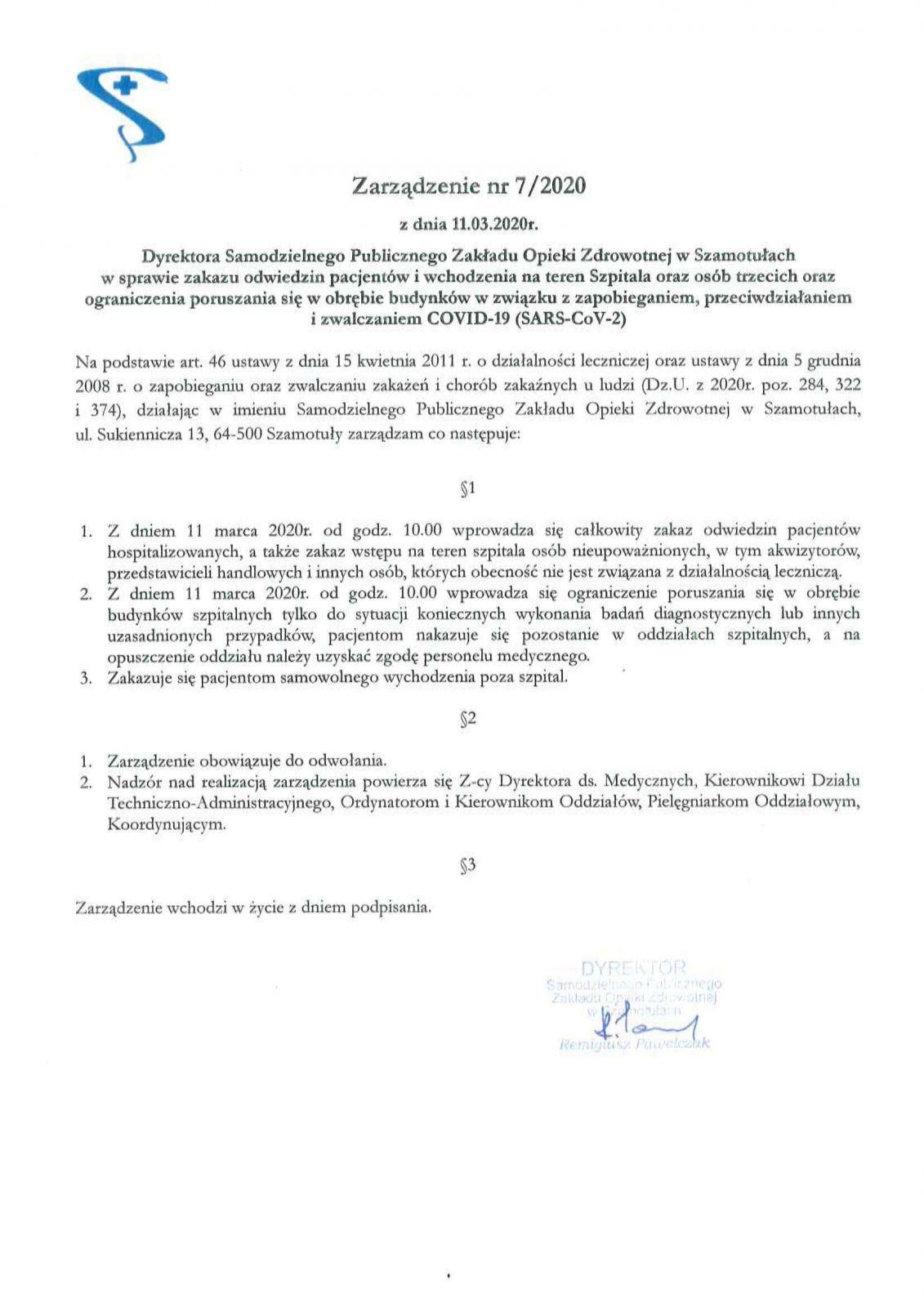 Zarządzenie Dyrektora SP ZOZ nr 7/2020 z dn. 11.03.2020 r.