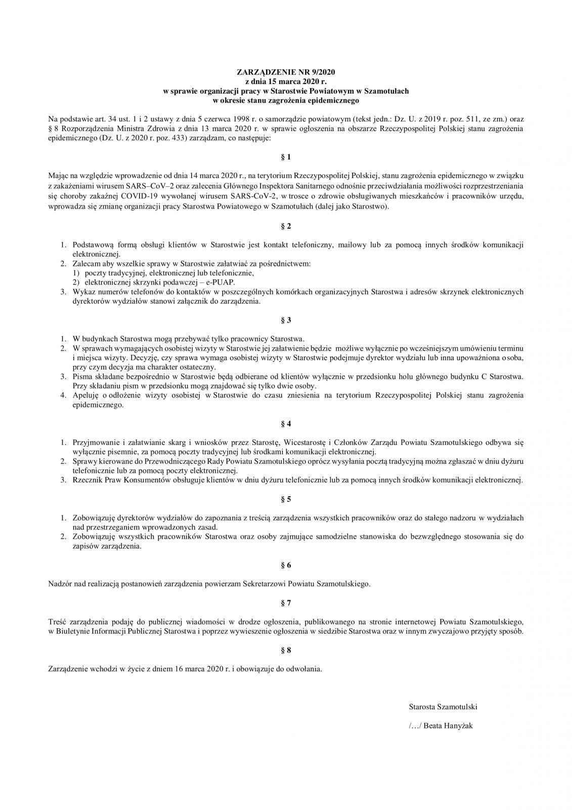 Zarządzenie Starosty z dn. 15.03.2020 r.