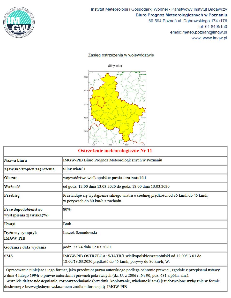 Ostrzeżenie meteorologiczne 13.03.2020