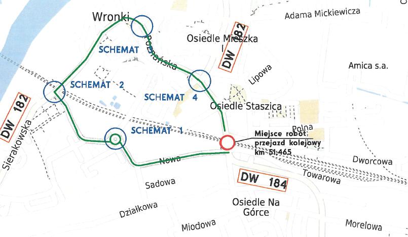 Mapa objazdu - Wronki